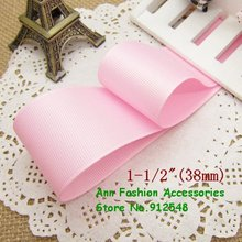 Free shipping 1-1/2'' /38mm pink solid color grosgrain ribbon,lwd010(China)