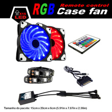 ALSEYE LED cooler RGB fan set 120mm computer fan radiator Remote control with dual RGB strips and 2 fans 12v 1300RPM