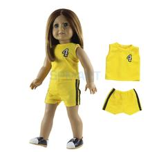 Yellow Basketball Uniform Jerseys Sport Casual Wear for 18'' American Girl/My Life/Journey Doll Accessories