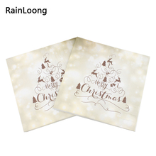 [RainLoong] Merry Christmas Napkins Festive & Party Supplies Tissue Paper Napkins Decoration Servilleta 33cm*33cm 20pcs/pack(China)