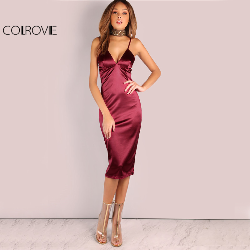 COLROVIE Burgundy Satin Party Club Dress 2017 Deep V Neck Women Summer Dresses Sexy Bodycon Strap Ruched Ladies Midi Slip Dress