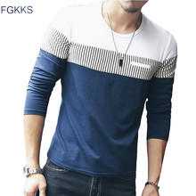FGKKS New Arrival Fashion T-Shirt Men Brand Long Sleeve Patchwork Striped T Shirts Mens Casual Hip Hop T Shirt Male Plus Size