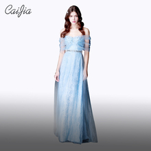CAIJIA2017 Blue New Fashion Lace Evening Dress 2017 Nectarean Beaded Off The Shoulder Real Sample Evening Dress Long(China)