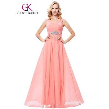 Grace karin cuello en v profundo backless sin mangas vestido de noche del traje Robe de Soirée 2017 Rosa Azul de La Novia Del Banquete Del Partido de Baile Elegante vestidos
