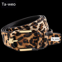 Buy Fashion Women Dress Belts, Leopard Printed Genuine Leather Belt Women, Brown & Black, Pin Buckle Belt for $12.74 in AliExpress store