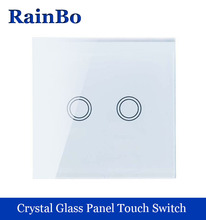 New Crystal Glass Panel wall switch EU Standard 110~250V Touch Switch Screen Wall Light Switch 2 gang 1 way White rainbo Brand