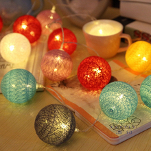 1.6M/ 3M  MixColour Cotton Ball Rope Lights Home Decor Party lighting Indoor Outdoor Led light for birthday wedding celebration