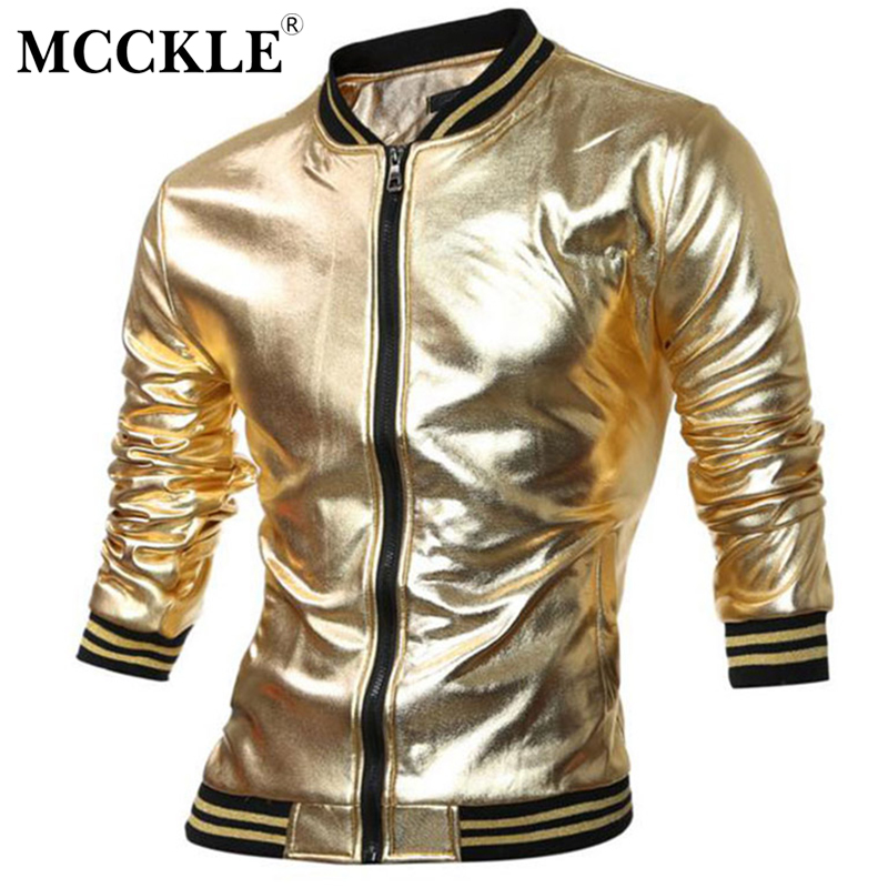 MCCKLE Novelty Mens Varsity Jacket Metallic Coated Night Club Wear Shiny Jackets Mandarin Collar Black Gold Silver Q2657