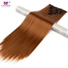 "Neverland Straight Synthetic Hair 7pcs/set Full Head 24"" 60cm Clip In Hair Extensions Light Auburn Fake Hair Hairpiece(China)"