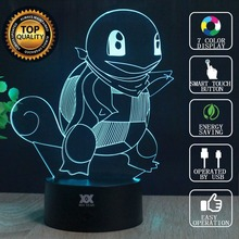 Squirtle 3D Lamp Pokemon Go Colorful Cartoon LED Decorative Table Lamp USB Novelty Night Lights Child's Gift HUI YUAN Brand