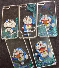 Doraemon Cartoon Glitter Star Flowing Water Liquid Case For iPhone5 5s Hard Plastic Transparent Clear Cover Phone cases