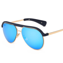 2017 new personality fashion sunglasses, one man half frame color film, luminous pilot glasses(China)