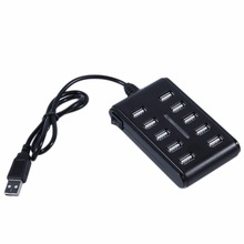 High Speed 10 Port USB 2.0 Hub + Power Adapter for PC Laptop Computer mice keyboard External drives use USB HUB 2.0