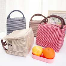 Women Portable Lunch Bag Pouch Canvas Stripe Insulated Cooler Bags Thermal Food Picnic Lunch Bags Kids Lunch Box Bag Tote