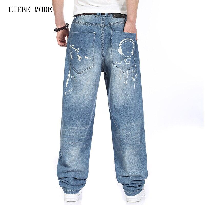 Men Jeans Wide Leg Denim Pants Loose Hip Hop Printed Skateboard Jeans Straight Trousers Harem Baggy Pants Big Size 40 42 44 46Îäåæäà è àêñåññóàðû<br><br>