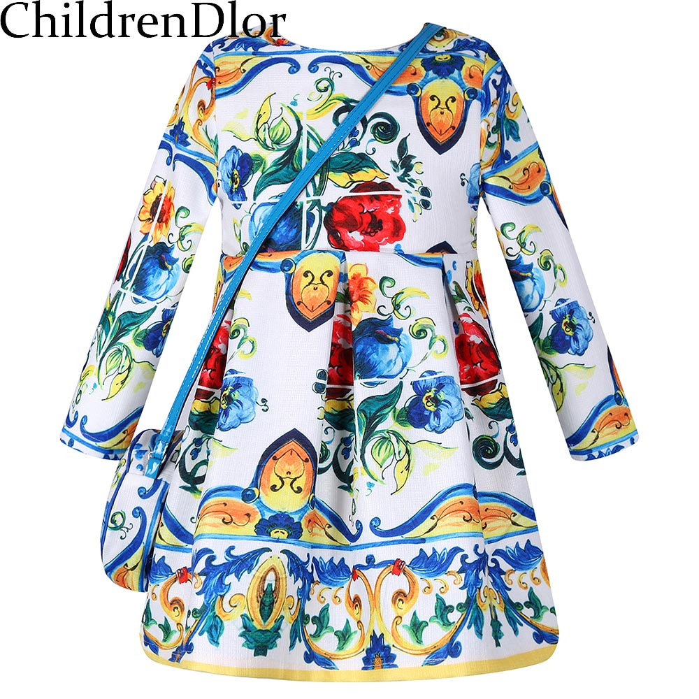 Girl Dress with Bag Reine Des Neiges 2017 Brand Spring Children Dress Princess Costume Character Kids Dresses for Girls Clothes <br><br>Aliexpress
