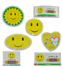 7 designs acrylic store exhibition worker employee ID name card holder brooch pin Smiley Face ID card chest NAME badge
