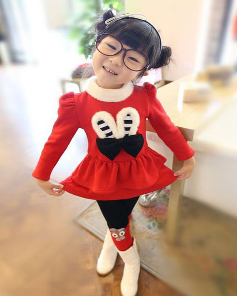 kids girl toddler clothes winter outfits Outerwear Clothing Turtleneck dress red+leggings gray children clothing sets DY129A<br><br>Aliexpress