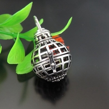 GraceAngie 1pcs Antique Silver Grenade Shape Pendant Fragrance Essential Oil Aromatherapy Diffuser Charms Necklace Accessory(China)