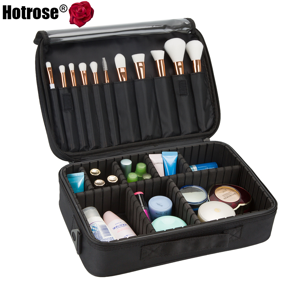 Hotrose Makeup Train Case 3 Layers Cosmetic Organizer Beauty Artist Storage Brush Box Cosmetics Cases with Shoulder Strap<br><br>Aliexpress