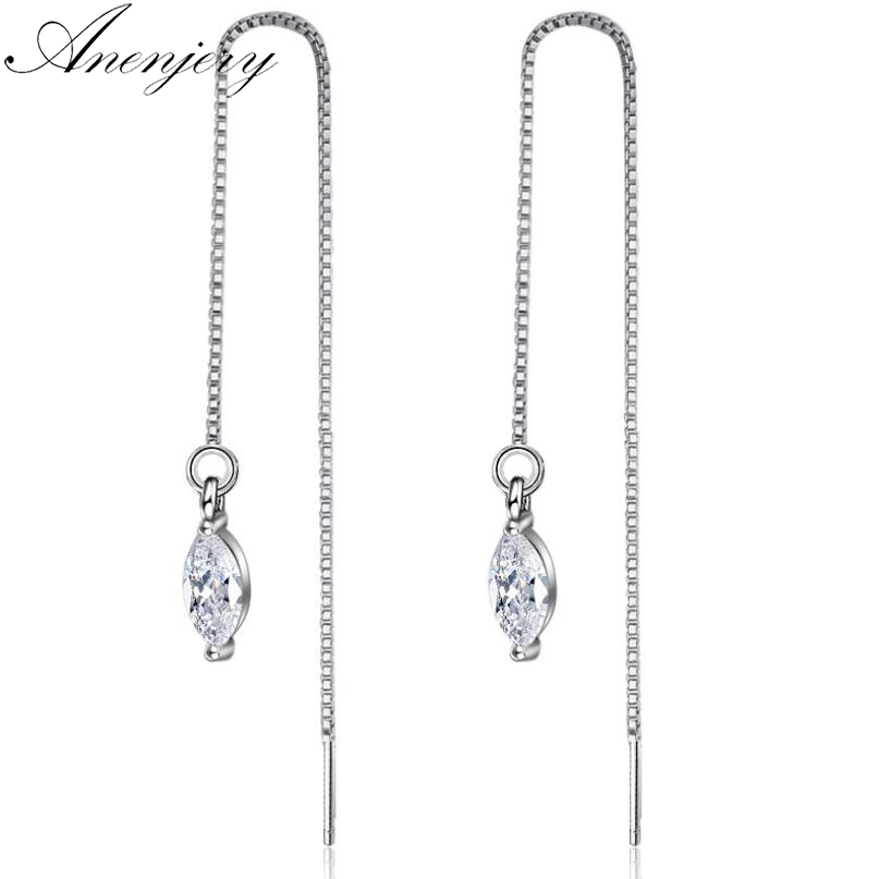 Authentic 925 Sterling Silver Clear Cubic Zircon Charme long Dangle Boucles d/'oreilles