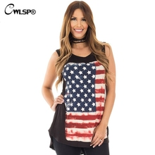CWLSP Digital print American flag Black T shirt for Women 2017 Summer tee fashion sleeveless Cozy t-shirts Office Clothes QZ2199