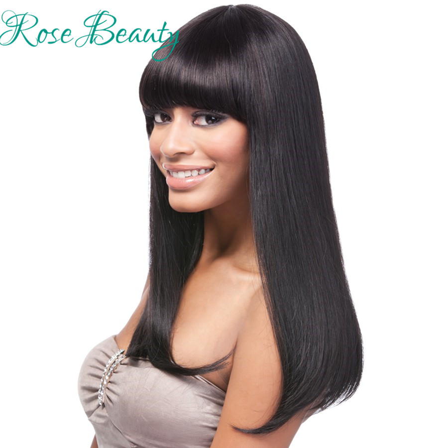 Newest Silk Straight long black wig Synthetic Wigs for black women pelucas pelo natural wig Heavy Density Women Neat Bang Wigs<br><br>Aliexpress