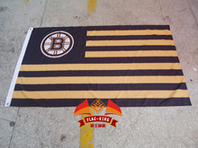 NHL Boston Bruins with American national flag background flag, green banner,90*150CM polyster free shipping(China)