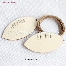 (50pcs/lot) 70mm Unfinished Blank Wood Football Favor Gift Tag Dad Baby Sport Ornaments Laser Cut Wooden -CT1252