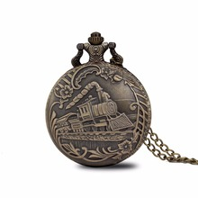 100pcs/lot 0012# special Vintage Bronze Train Front Locomotive Engine Necklace Quartz Pocket Watch Chain Railway Watch