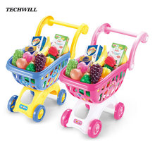 Children Supermarket Shopping Cart Toys Pretend Play Toys For Kids Simulation Trolley With Fruit Vegetables Food Large Size