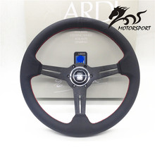 Steering Wheel /Leather Steering Wheel flat style Corn Racing 350mm Black Perf Leather with Red stitch(China)
