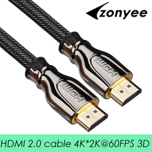 Zonyee HDMI Cable High Speed 2.0 Version 3D 4K 60FPS cable for HD TV LCD PS3 Projector 1m 2m 3m 5m 8m 10m 15m 20m HDMI cable(China)
