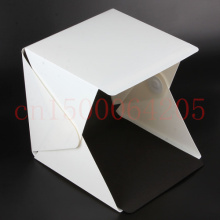 Mini Folding Studio Diffuse Soft Box With LED Light Black White Background Photo Studio Accessories