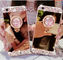 Bling Diamond Ring Mirror Soft TPU Case Cover For Iphone X 8 7 6S Plus 5 4 Samsung Galaxy Note 8 5 4 3 S5/4/3 S8 S7 S6 Edge Plus