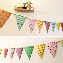 2pcs x 2.6M Copper Paper 16 Cartoon Flag Double Print Bunting Garland Banner for Kid wedding Church Decor Background Color(China)