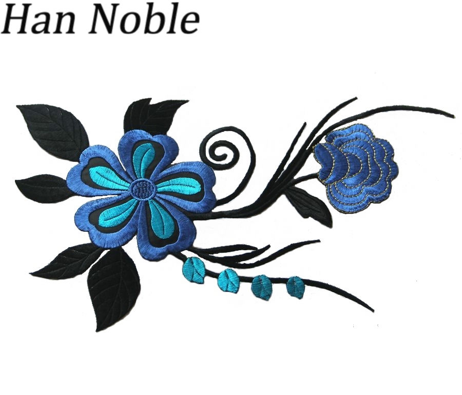 Han Noble Mix Color Big Sun Flowers Embroidery Patches Iron Clothes Wedding Dress Garment Applique Diy Sewing P062-2 1pc