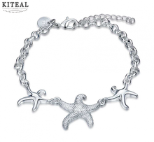 2017  New wholesale Fashion Jewelry silver color bracelets &bangles three sea star bracelet girl Costume Jewellery
