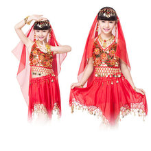 Performance Indian Bollywood Dancing 4-piece Set Coins Headpiece, Top, Skirts for kids Gold Bracelet Children Indian Costume
