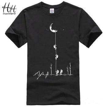 HanHent 2017 Estilo Europa T camisas Homens Moda Verão Subir Para A Lua Impresso Camiseta Casual de Manga Curta T-shirt O-pescoço
