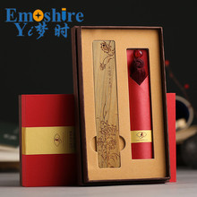 Red Woody Bookmark Chinese Style Creative Gift Complex Classical Art Tassel Sandalwood Bookmark  Custom LOGO Lettering M067