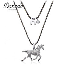 Dorado New arrival brand crystal zirconia stone amusing horse pendant necklace cute animals jewelry for women(China)