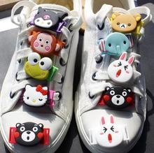 Fashion Cartoon Animal Appliques Silicone Shoelace Clip Shoe Decorations For Children One Pair Free Shipping