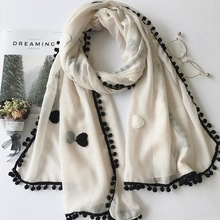 Love Hearts Embroidery Solid Colored Balls cotton Linen scarf shawl Designer elegant muslim hijabs autumn warm Women Scarf
