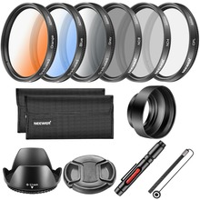 Neewer 52MM Lens Filter and Kit,Includes: CPL ND4 ND8 Filter,Graduated Color Filter,Tulip Lens Hood,Collapsible Rubber Lens Cap,(China)
