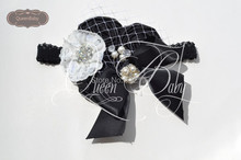 10pcs/lot Triple Black Satin Rosette With Bow Matching Sparkling Pearl Rhinestone Headband Baby Girl Headband