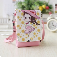 Faux Leather Cute Girl Children Character Shoulder Wallet Purse Cross Body Cell Phone Mobile Pouch Zip Messenger Bag Handbag New