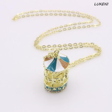 1 Pcs/set Korean Style Sweet Enamel Carousel Merry Go Round Horse Lady Pendant Necklace Long Sweater Chain Necklace