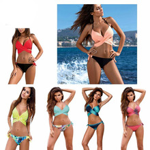 2017 Sexy Bikini Women Swimsuit Push Up Swimwear Criss Cross Bandage Halter Bikini Set Beach Bathing Suit Swim Wear XXL(China)
