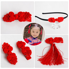 Chinese Knot Tassel Hair Clips Red Hairband Head Band Happy New Year Hairpin Hand Made Rim Hair Accessories Hair Bows